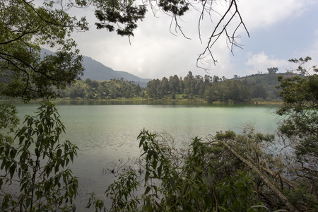 A sulfur lake in Giava at Dieng plateau, Indonesia