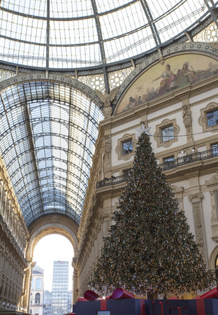 Milan, Italy - November 26, 2017: Swarovski Christmas tree in Galleria Vittorio Emanuele II shopping arcade in Milan Editorial