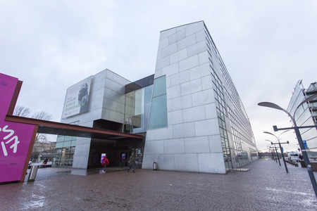 Helsinki, Finland - December 27, 2017: modern contemporary art museum building is located at helsinki finland