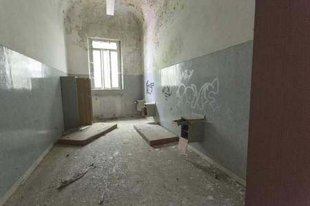 Limbiate, Italy - September 27, 2015: Abandoned Hospital Building called Mombello. The building was abandoned nearly twenty years ago, but never demolished