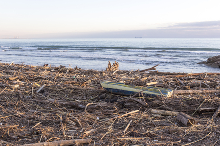 Sarzana, Italy - December 24, 2017: woods and waste transported by the sea on the beach after a storm