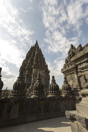 Prambanan temple in Indonesia in a cloudy day Stock Photo
