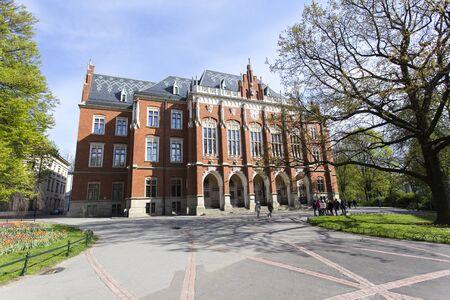 Krakow, Poland - April 22, 2017: Collegium Maius front view at krakow
