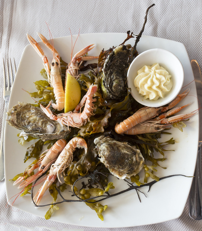 A crustaceans and oysters typical French plateau Imagens