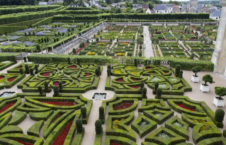 Villandry, France - 11 August 2016: Chateau de Villandry is a castle-palace located in Villandry, France. He is a world known for its amazing gardens Editorial