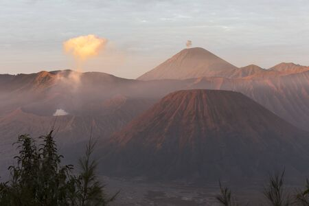 Beautiful sunrise at mount Bromo in Indonesia