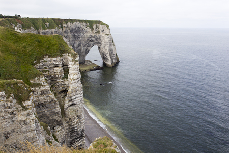 Panoramic view of Etretat during summer, France Stock Photo