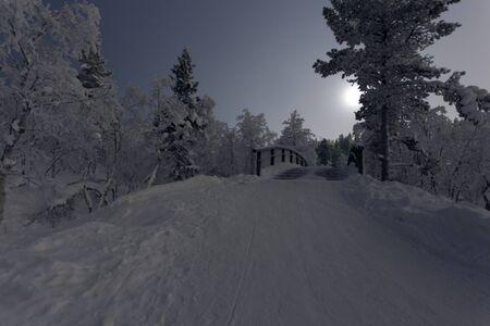 The lapland frozen landscape during winter, Finland