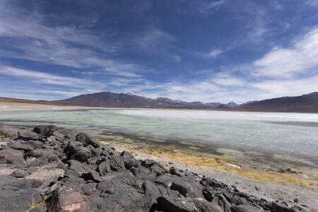 a laguna blanca wide view in Bolivia Фото со стока