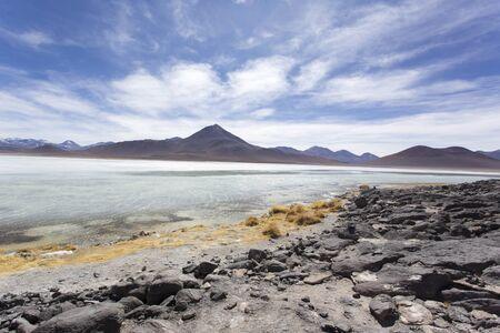 a laguna blanca wide view in Bolivia Stock Photo