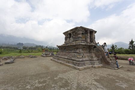 Dieng Plateau, Indonesia - August 06, 2017: ancient temples at Dieng Plateau, Indonesia Editöryel