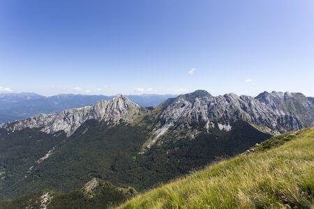Alpi Apuane view from Monte Sagro, Italy Stock Photo