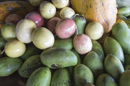 Tropical fruits picture taken from above