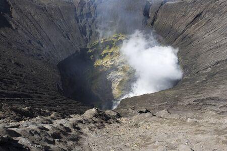 Looking inside Bromo volcano in Java island, Indonesia