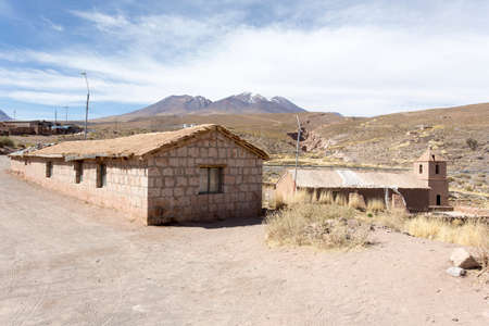 Socaire, Chile - August 15, 2019: the village of Socaire famous for its small church