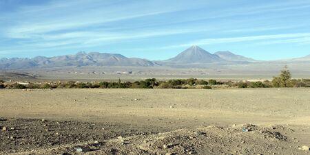 View of Atacama desert with Licancabur volcano, Chile