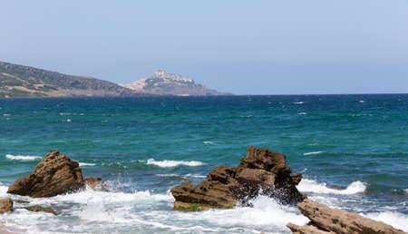View of Sardinia coast with Castelsardo, Italy