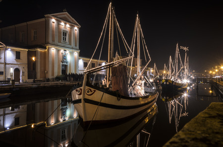 CESENATICO, ITALY - DECEMBER 20: Nativity scene on December 20, 2014 in Cesenatico. The traditional nativity scene set-up on boats on the canal in Cesenatico.