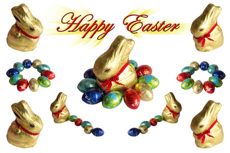 Rabbits and eggs for Easter greetings photo