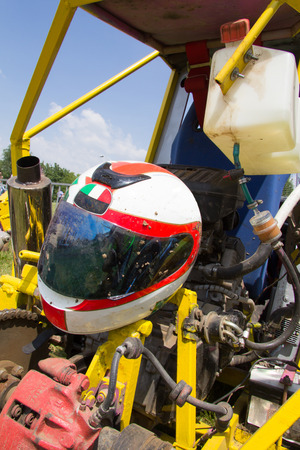 The helmet used for a competition with italian ape car photo
