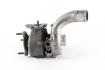 turbo: the silver turbo of the combustion engine Stock Photo
