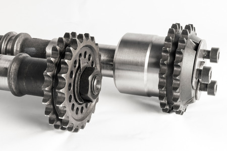cam gear: The Camshafts with the gears of the combustion engine Stock Photo