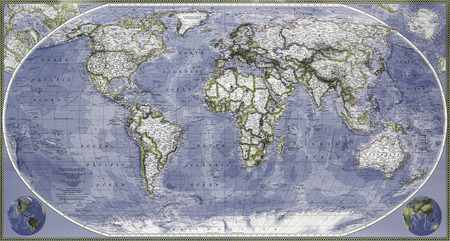 The colored map of the entire planet earth Stock Photo
