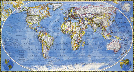 The colored map of the entire planet earth Stockfoto