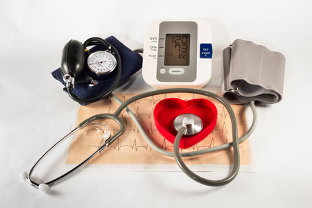 doctor stress: The pressure gauge to control our blood pressure Stock Photo