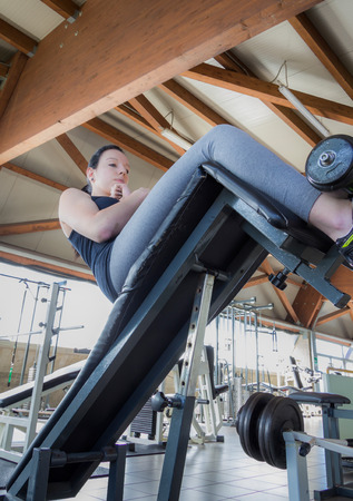keep fit: gymnastic exercises in the gym to keep fit