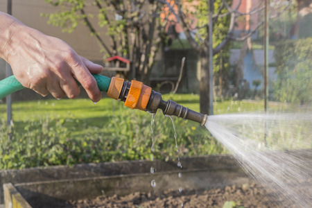 obtain: irrigate the garden with water to obtain plants lush, green