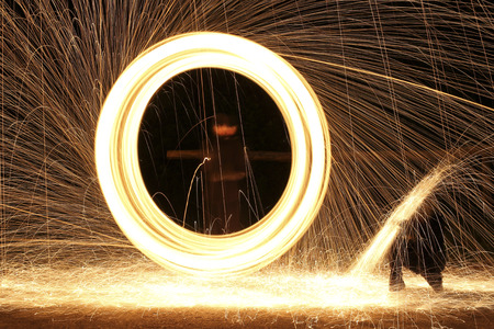 designates: rings of fire and bright sparks light up the night