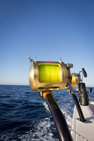 sportfishing: fishing rods on a yacht for marlin fishing