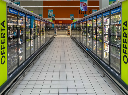row of freezers at the supermarket