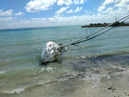 Sailboat Naufrago in Guadalupe after hurricane