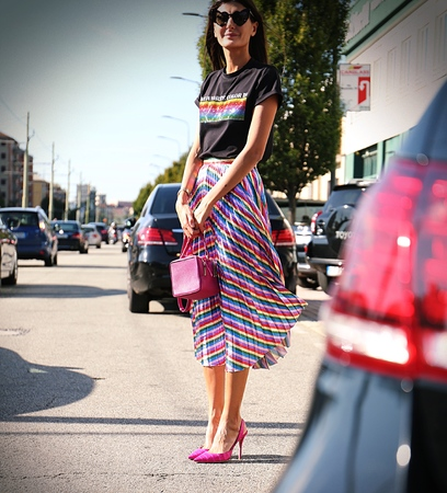 milánó: MILAN- 20 September 2017 Giovanna Battaglia on the street during the Milan Fashion Week
