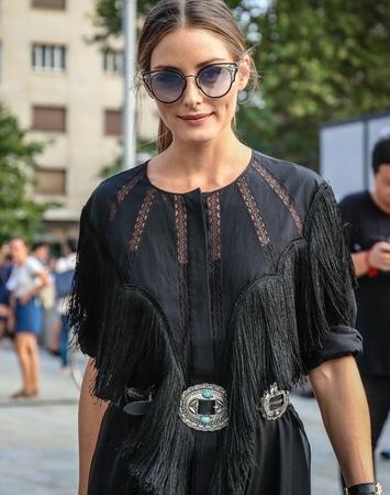 MILAN, Italy- September 19 2018: Olivia Palermo on the street during the Milan Fashion Week.