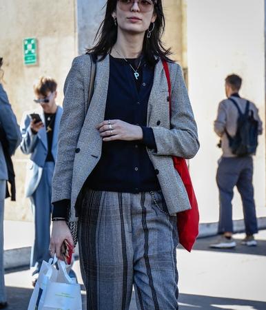 PARIS, France- September 26 2018: Women on the street during the Paris Fashion Week.