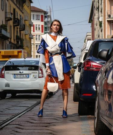 MILAN, Italy- September 19 2018: Landiana Cerciu on the street during the Milan Fashion Week. Editorial
