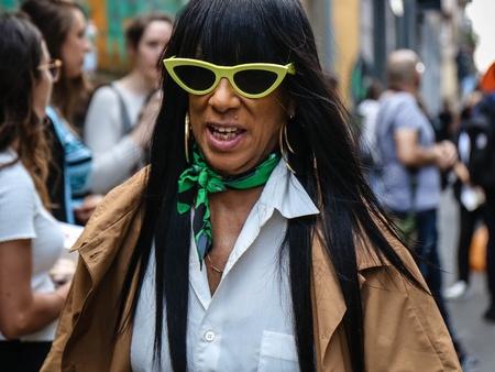 MILAN, Italy- September 19 2018: Women on the street during Milan Fashion Week.