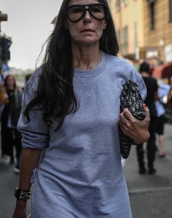 MILAN, Italy- September 19 2018: Veronique Tristram on the street during the Milan Fashion Week.
