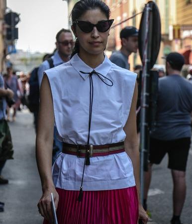 MILAN, Italy- September 19 2018: Caroline Issa on the street during the Milan Fashion Week.