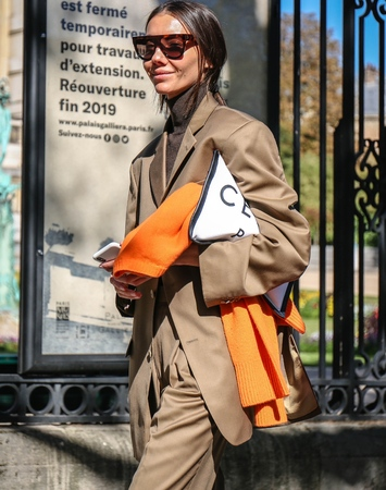 PARIS, France- September 26 2018: Julie Pelipas on the street during the Paris Fashion Week. Editorial