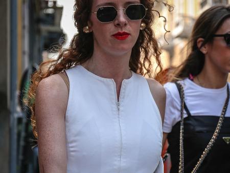 MILAN, Italy- September 19 2018: Carmel Imelda Walsh on the street during the Milan Fashion Week.