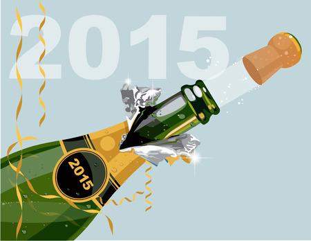 botella champagne: Feliz Año Nuevo Vectores