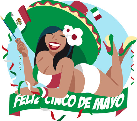 drapeau mexicain: Cinco de Mayo fille Illustration