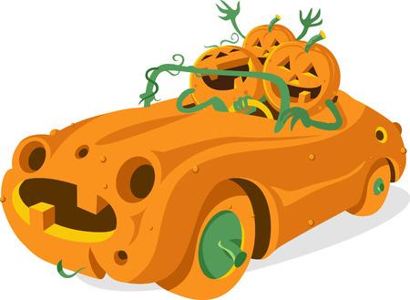 Pumpkin car Ilustração