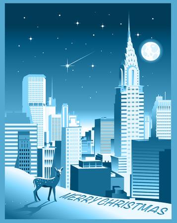 New york skyline winter