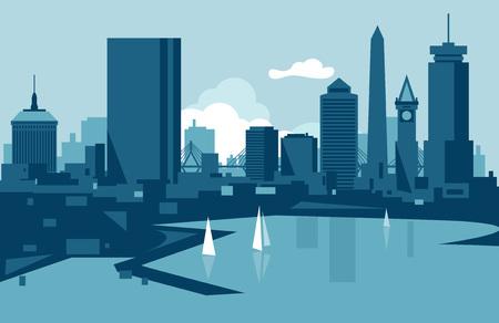 Boston skyline Иллюстрация