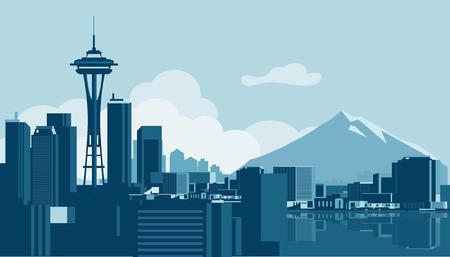 Seattle skyline  イラスト・ベクター素材
